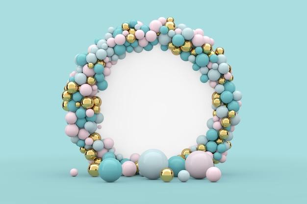 Podium d'écran de cercle de présentation abstraite avec des boules et un espace libre pour votre conception sur un fond bleu. rendu 3d