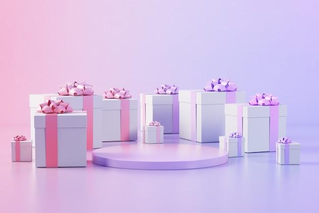 Podium entouré de coffrets cadeaux rendu 3d