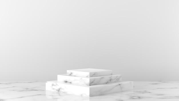 Podium d'étalage de boîte de marbre blanc de luxe pour le placement de produit