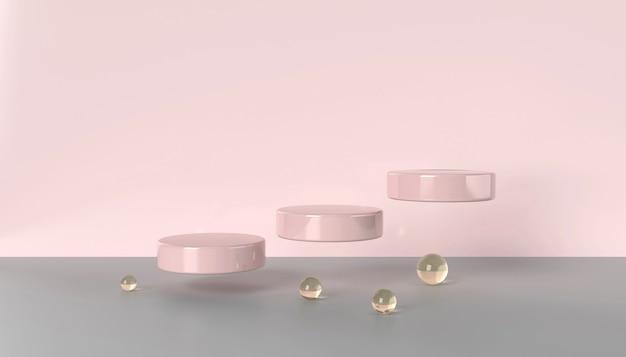 Podium flottant 3d rose serti de boules de verre