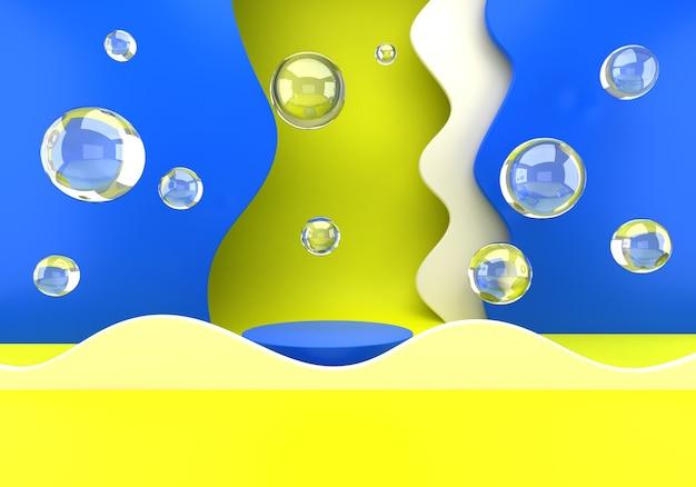 Podium avec fond de bulles de savon