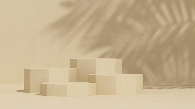Podium avec fond de couleur crème et lumière naturelle pour la présentation du produit rendu 3d