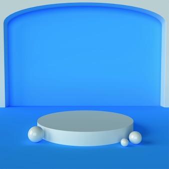 Podium de fond et scène bleue de piédestal, rendu 3d de fond de scène minimal