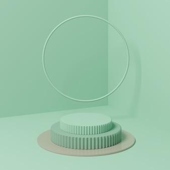 Podium de forme géométrique de couleur verte pour le produit.