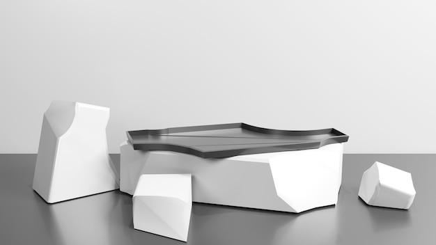 Podium en forme de pierre noire blanche abstraite pour la présentation du produit