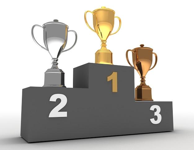 Podium gagnant en 3d. concept de podium gagnant
