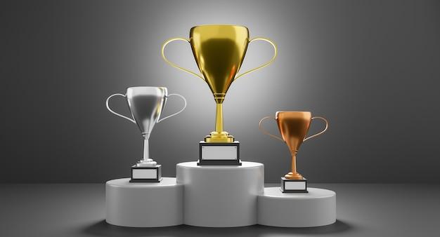 Podium des gagnants avec coupes
