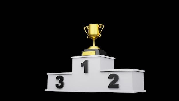 Podium des gagnants avec rendu 3d de la gold trophy cup