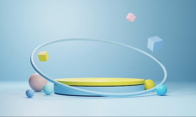 Podium géométrique abstrait, modèle de vitrine vide minimaliste vide, affichage de boutique art déco moderne, couleurs pastel. rendu 3d.