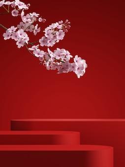 Podium géométrique fleur de cerisier avec fond rouge pour la présentation du produit rendu 3d