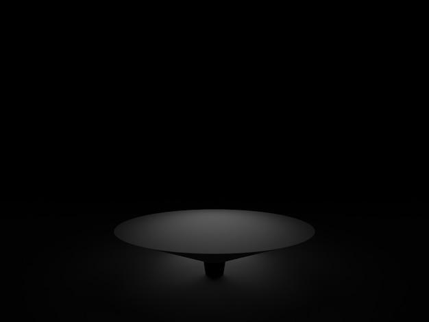 Podium géométrique noir rendu 3d. fond sombre.