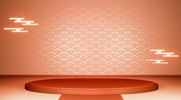 Podium géométrique rouge podium de tradition japonaise.