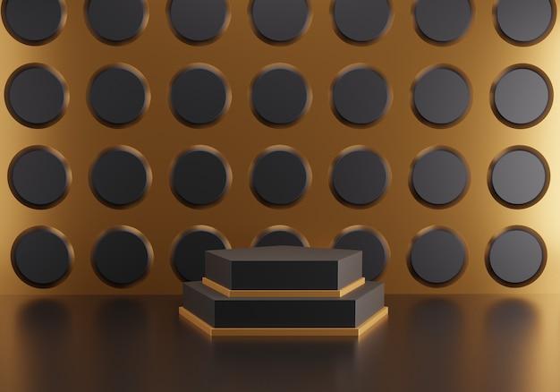 Podium hexagonal abstrait sur fond de cercle noir.