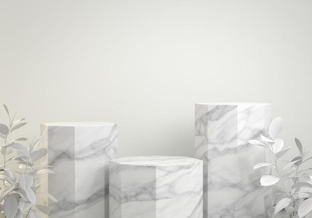 Podium hexagonal en marbre blanc de maquette moderne de rendu 3d avec fond de plante tropicale