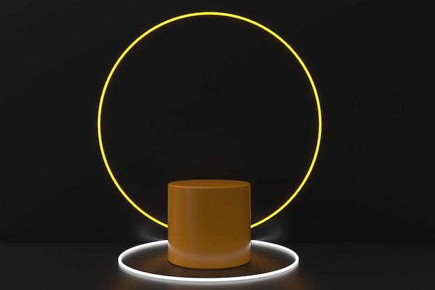 Podium jaune entouré d'une lumière circulaire sur fond noir. rendu 3d