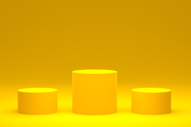 Podium jaune minimal ou rendu 3d du support de produit pour la présentation de produits cosmétiques