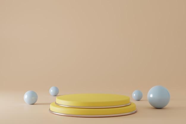 Podium jaune de rendu 3d minimaliste avec des sphères autour