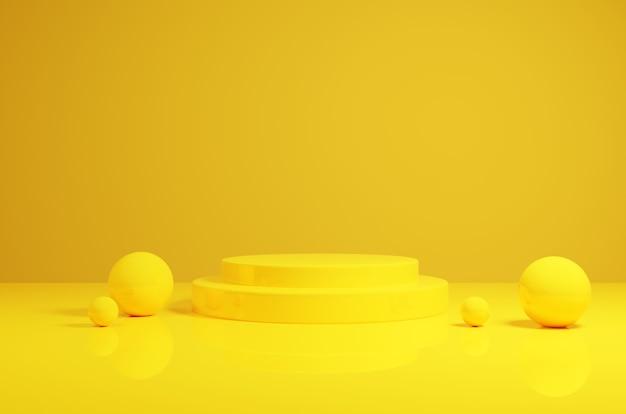 Podium jaune de rendu 3d avec des sphères