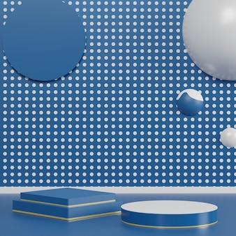 Podium de luxe brillant couleur bleu classique de l'année 2020. scène de défilé de mode, piédestal, devanture de magasin