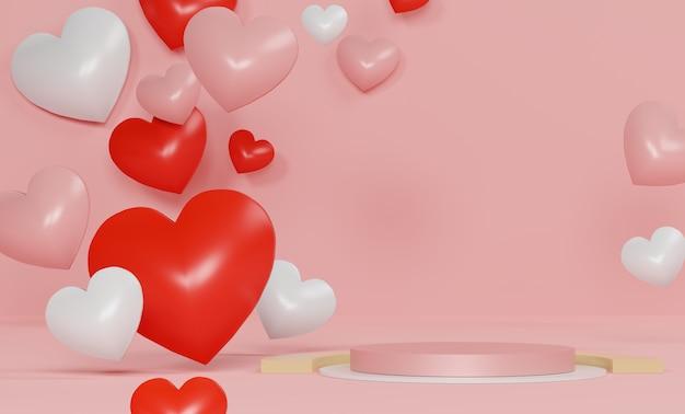 Podium de luxe brillant pour votre conception. coffret rose, ballon rose et coeur sur fond pastel. joyeuse saint valentin.