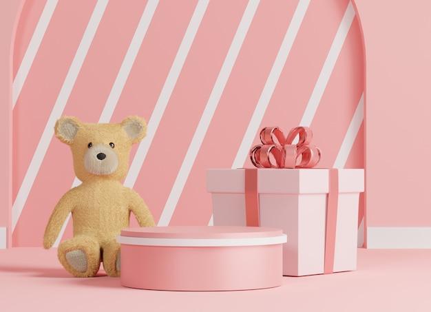 Podium de luxe brillant pour votre conception. coffret rose, ours en peluche et ballon rose sur fond pastel. joyeuse saint valentin.