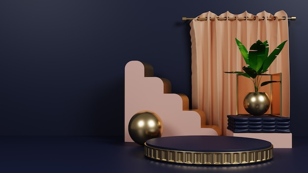 Podium de luxe avec plante et rideau
