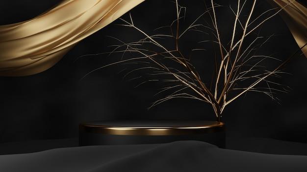 Podium luxueux en or noir 3d avec tissu brillant