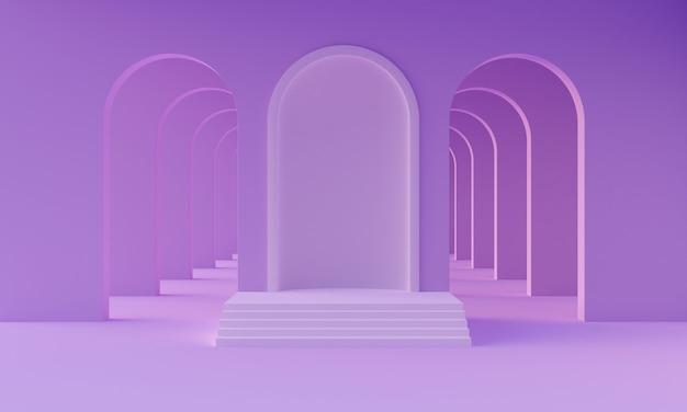 Podium de maquette 3d dans une salle violette néon minimaliste abstraite vide avec des arches pour la présentation du produit. plate-forme moderne et élégante dans le style du milieu du siècle. rendu 3d
