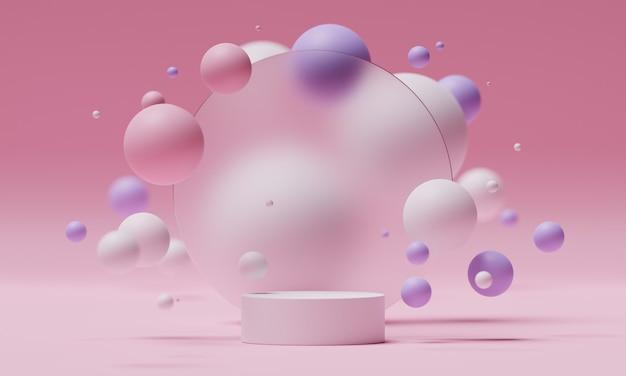 Podium de maquette 3d sur fond de verre givré rond avec des sphères ou des boules volantes aux couleurs blanc, rose et violet. plate-forme moderne et lumineuse pour la présentation de produits ou de cosmétiques. rendu scène.