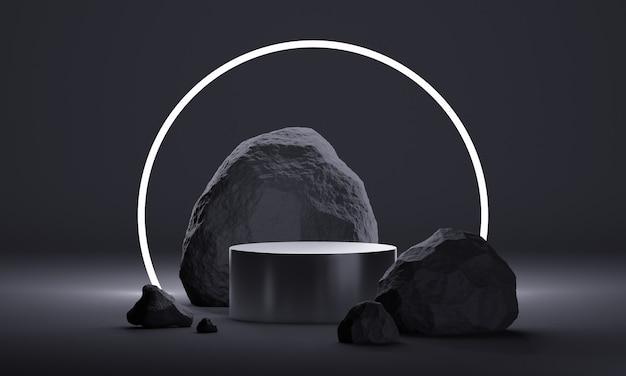 Podium de maquette 3d avec pierres naturelles et éclairage au néon dans une palette noire totale. plate-forme moderne pour la présentation de produits ou de cosmétiques. fond tendance minimaliste sombre.