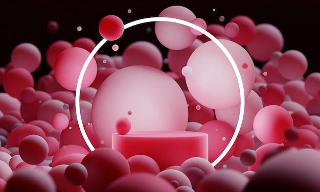 Podium de maquette 3d rouge avec des sphères ou des boules volantes avec un éclairage au néon rond dans l'obscurité. lumineux contemporain résumé plate-forme moderne pour la présentation de produits ou de cosmétiques.