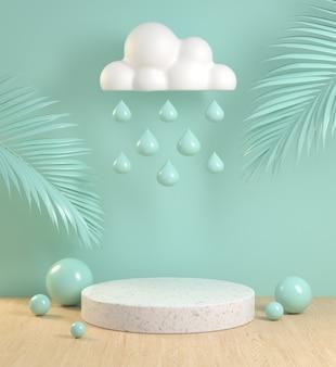 Podium de maquette avec feuille de palmier nuage pluie goutte et plancher de bois sur pastel menthe