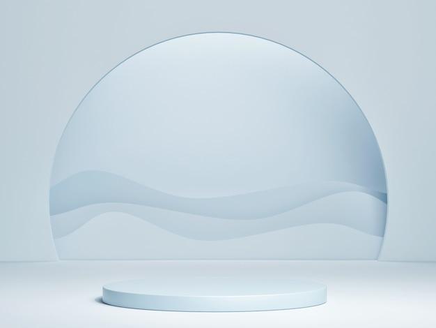 Podium de maquette avec fond de vague bleue