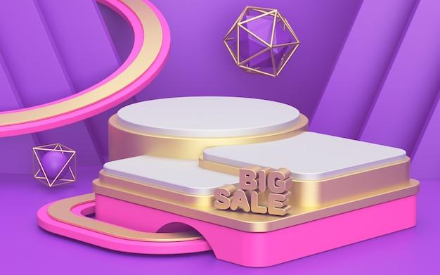 Podium maquette. illustration de rendu 3d. formes vierges. publicité, fond de promotion. fond de vitrine de produit. forme 3d