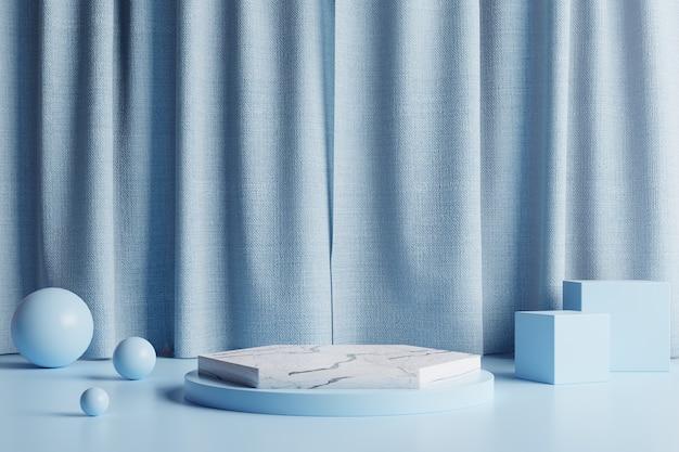 Podium en marbre avec de beaux rideaux bleus et des sphères bleues