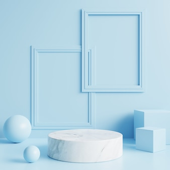 Podium en marbre blanc avec cadres sur mur bleu