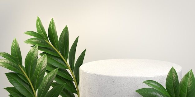 Podium en marbre blanc avec feuilles