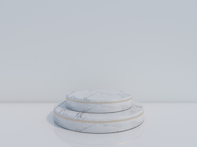 Podium en marbre blanc rendu 3d isolé sur fond blanc