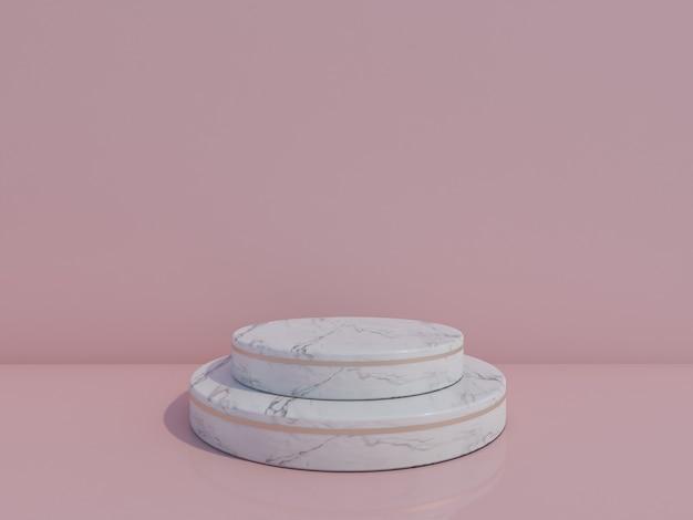 Podium en marbre blanc de rendu 3d isolé sur fond bleu clair