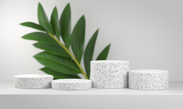 Podium en marbre blanc serti de feuilles