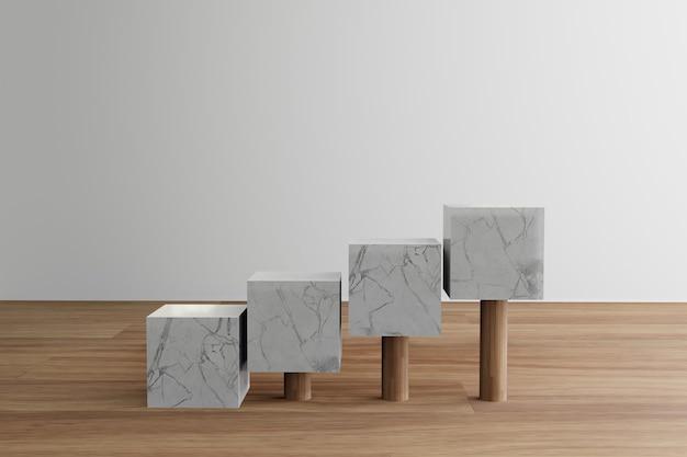 Podium en marbre cube minimaliste géométrique avec plancher en bois
