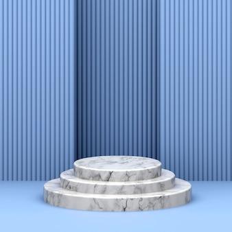 Podium marbré sur fond bleu rendu 3d
