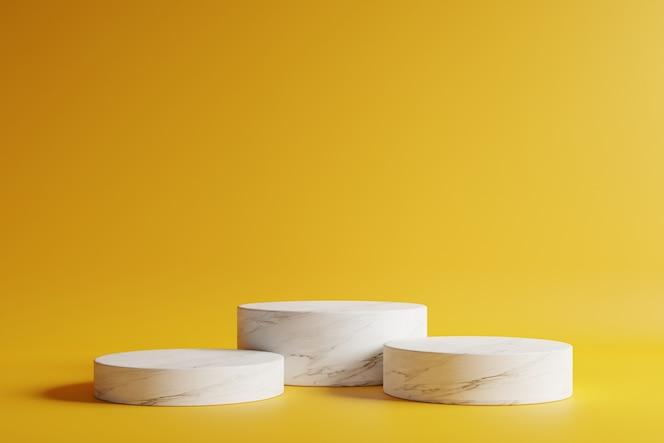 Podium en marbre forme de cercle avec beau fond jaune foncé.