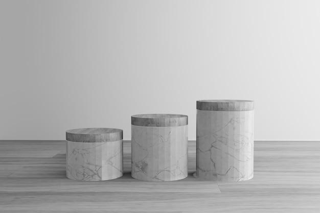 Podium en marbre gris géométrique avec plancher en bois