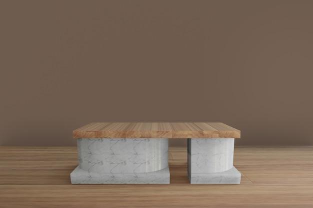 Podium en marbre minimaliste géométrique avec plancher en bois