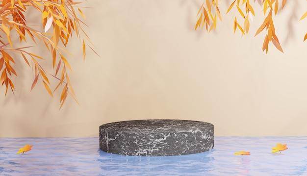 Podium de marbre noir minimal sur fond orange et feuilles d'orange rendu 3d photo premium