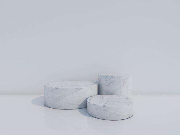 Podium en marbre noir rendu 3d isolé sur fond blanc