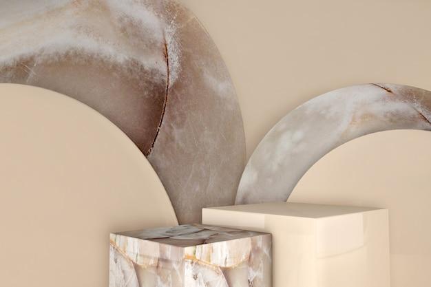 Podium en marbre vide sur fond de couleur beige pastel. boîtes minimales et podium géométrique.
