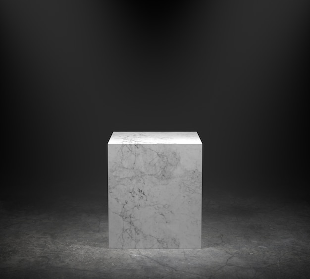 Podium en marbre vide sur sol en béton avec fond de projecteur