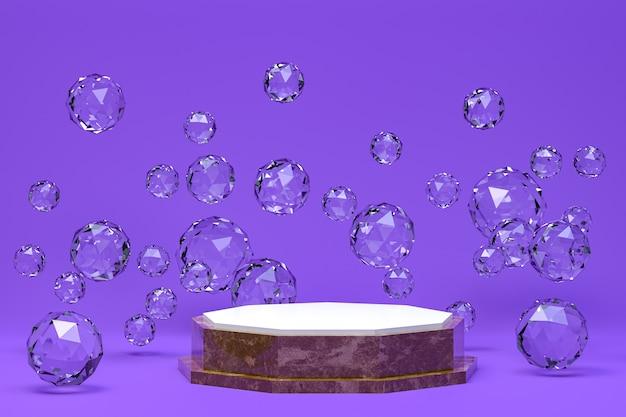 Podium minimal abstrait fond violet pour la présentation de produits cosmétiques, forme géométrique abstraite